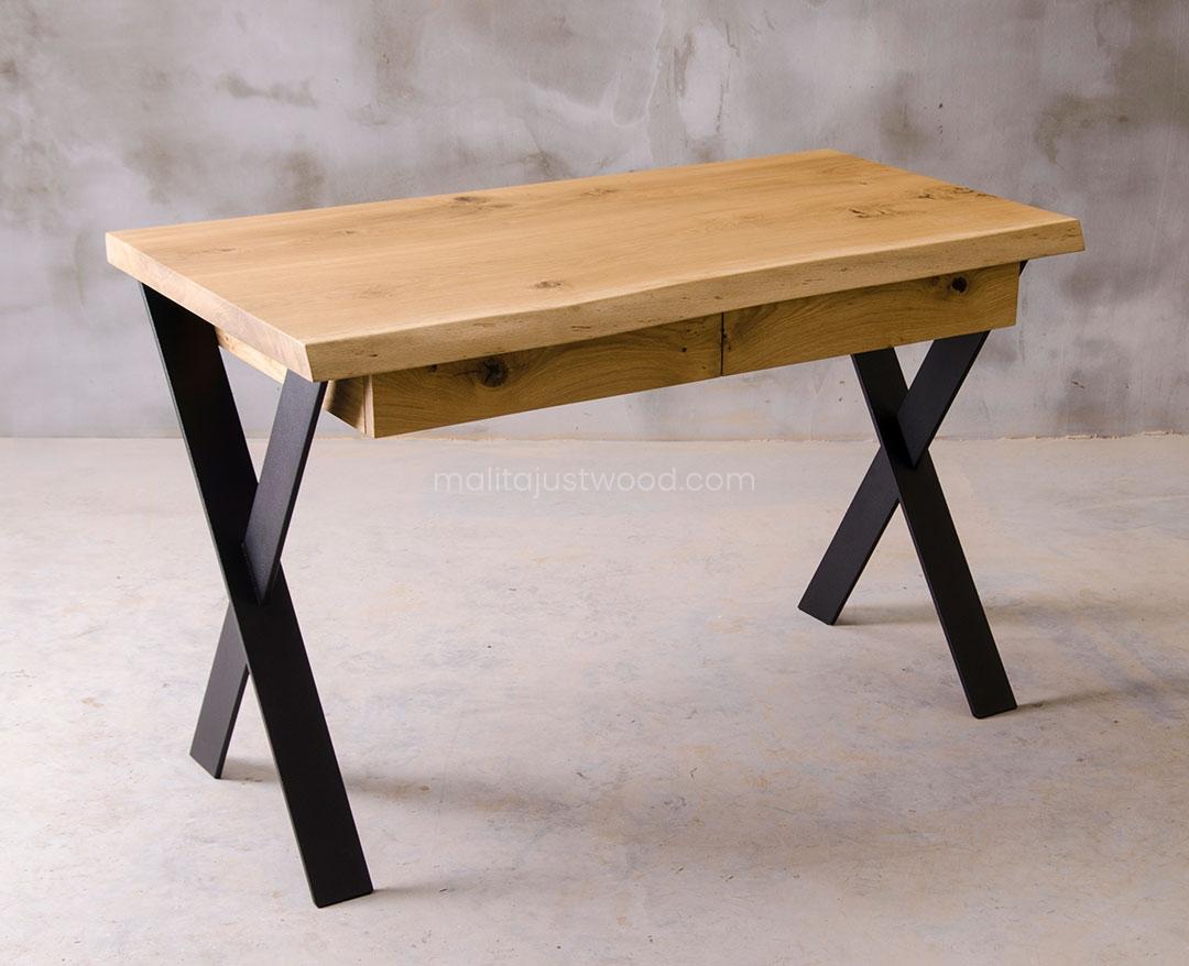 biurko skandynawskie Navigo z litego drewna z szufladami