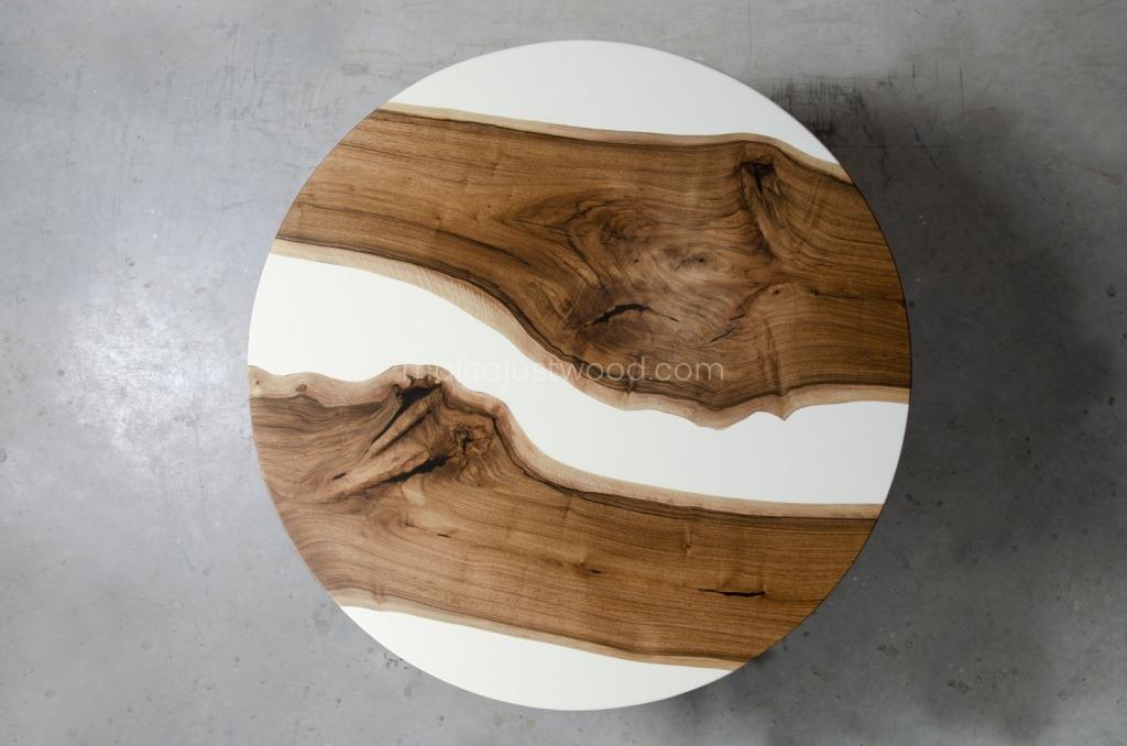 okrągły stół Alba z drewna i żywicy epoksydowej