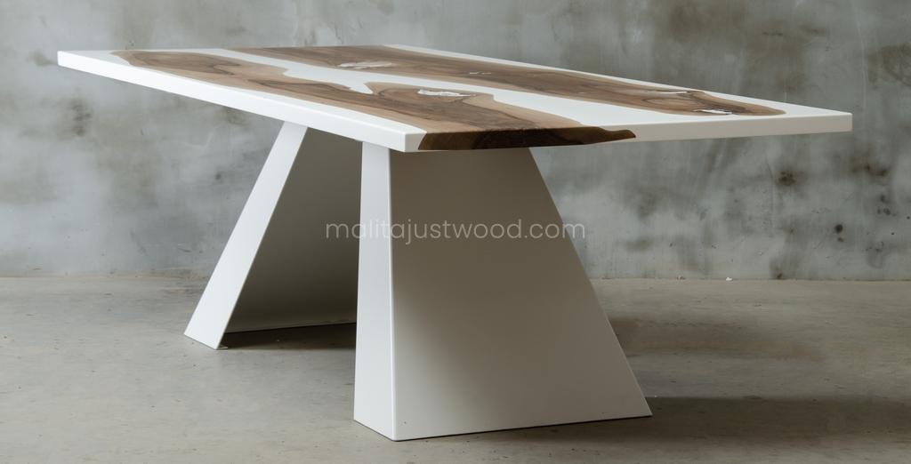 konferencyjny stół Concordia z drewna i białej żywicy