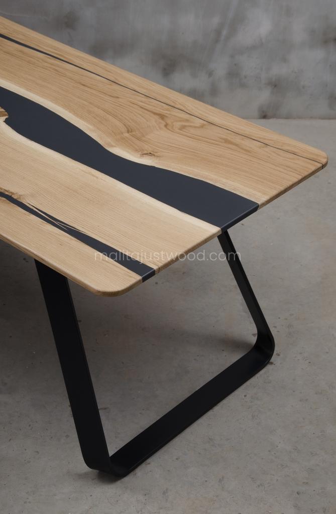 stół Libenter drewniany stalowe nogi lakierowane