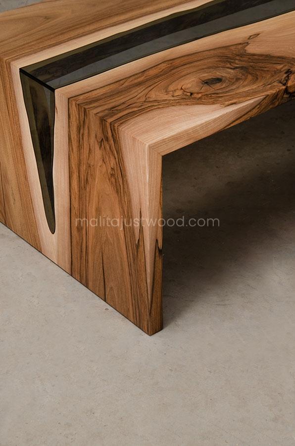 stolik kawowy Cataracta drewianiano-szklany