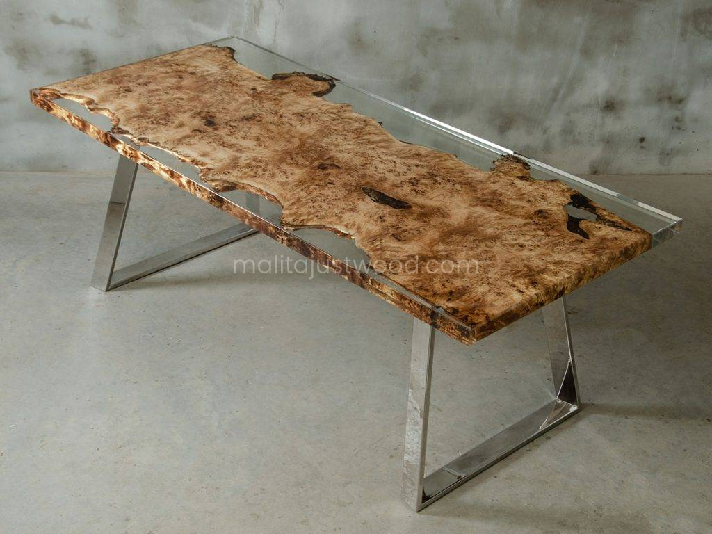 nowoczesny stół konferencyjny Astrum z żywicy i deski topoli