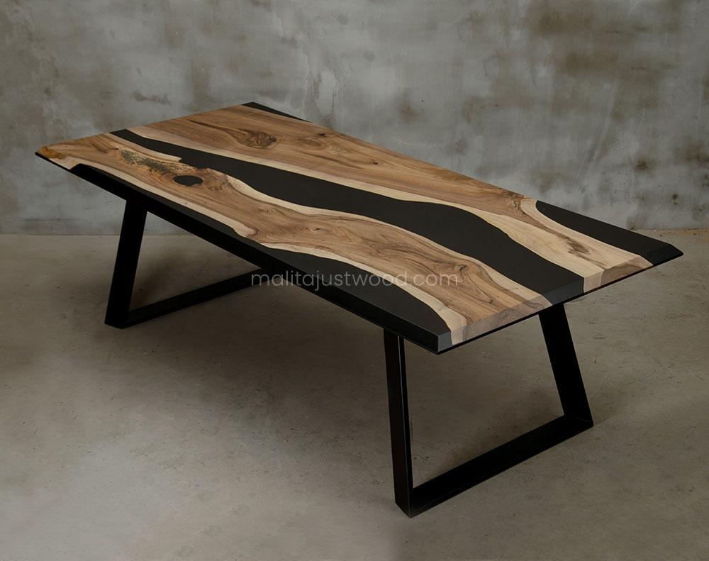 stół Desidero drewniany stalowe nogi lakierowane