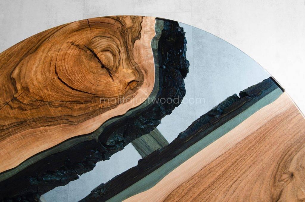 okrągły stolik Fluvius ze szklanym blatem idealny do salonu