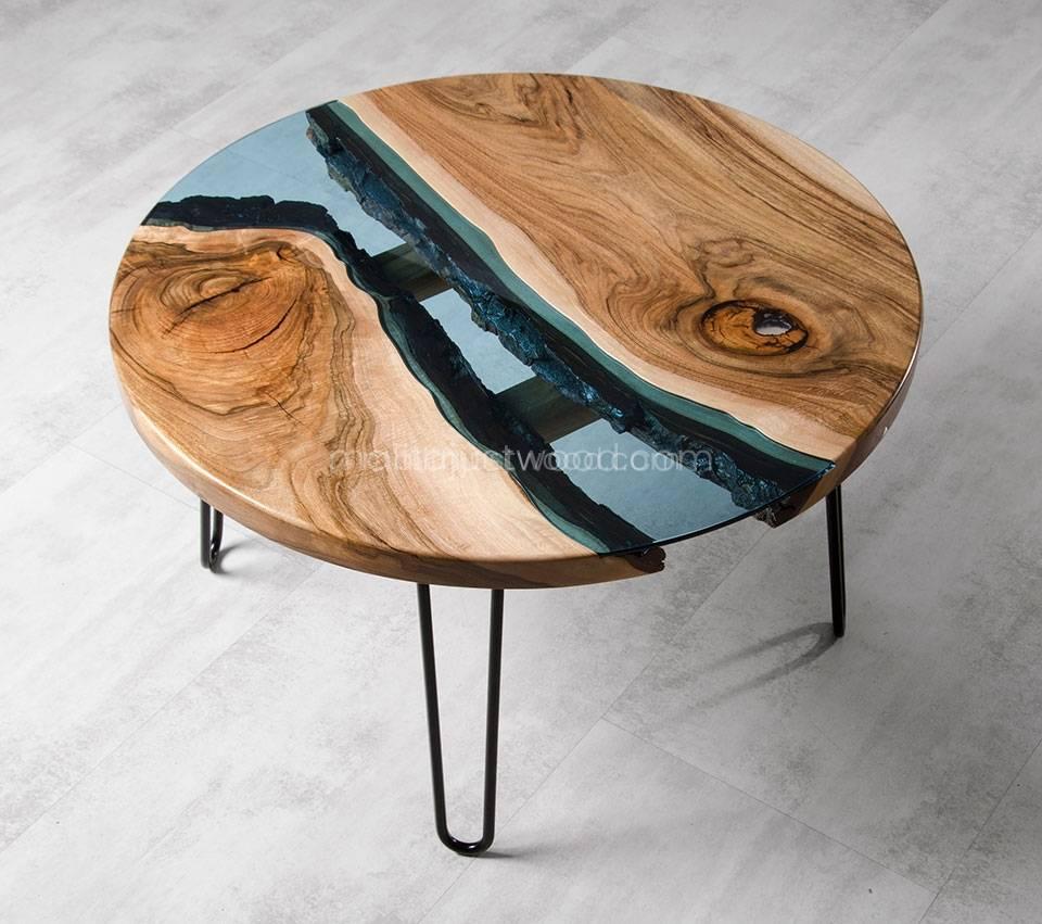 elegancki stolik Fluvius drewniano-szklany