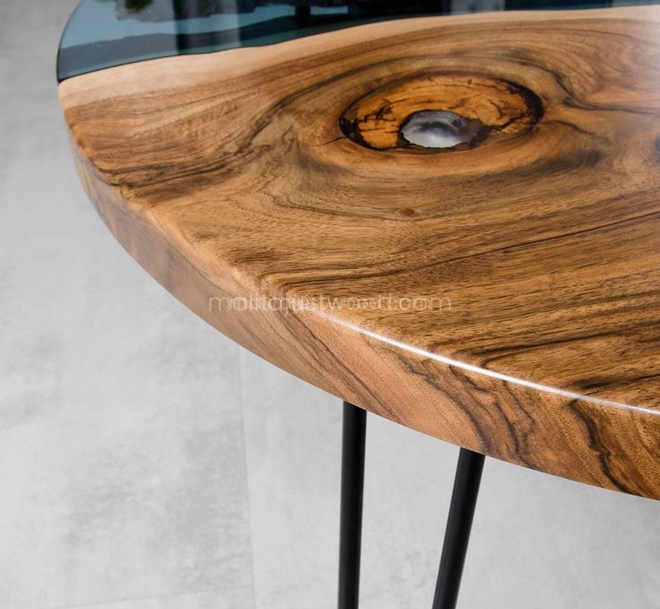 okrągły stolik kawowy Fluvius z drewna i szkła