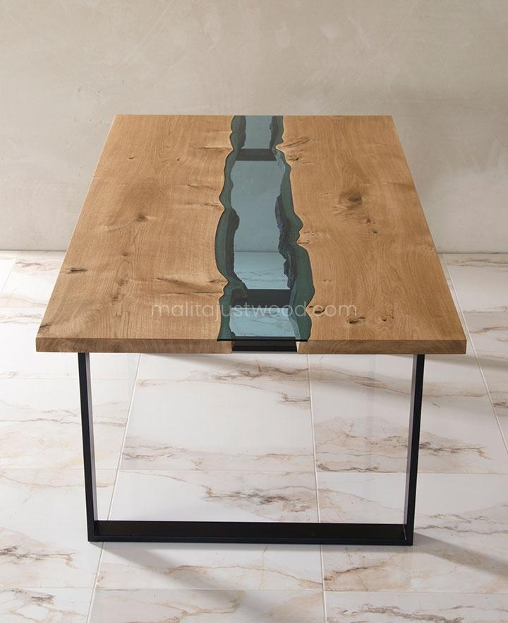 dębowy stół Lente z błękitnym szkłem hartowanym