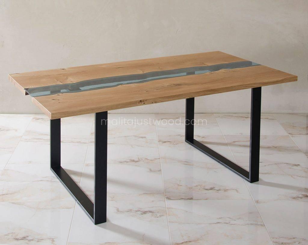 stół Lente z blatem z drewna i szkła