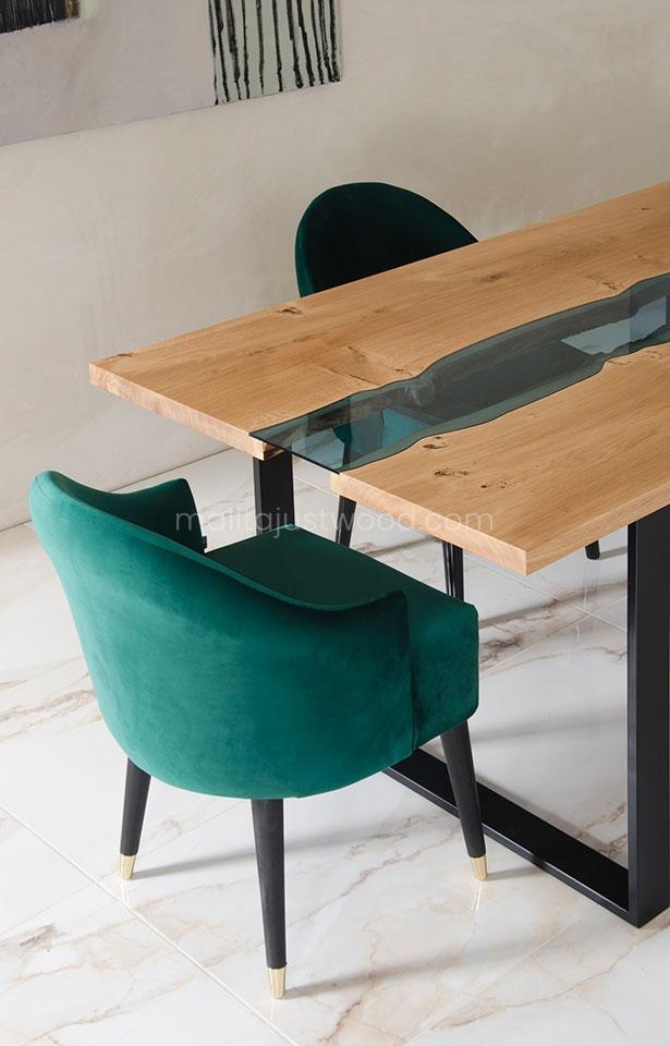 drewniany stół Lente z rzeką ze szkła hartowanego do sali konferencyjnej