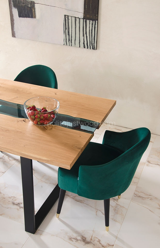 stół Lente 200x100 dębowy z elementami szkła