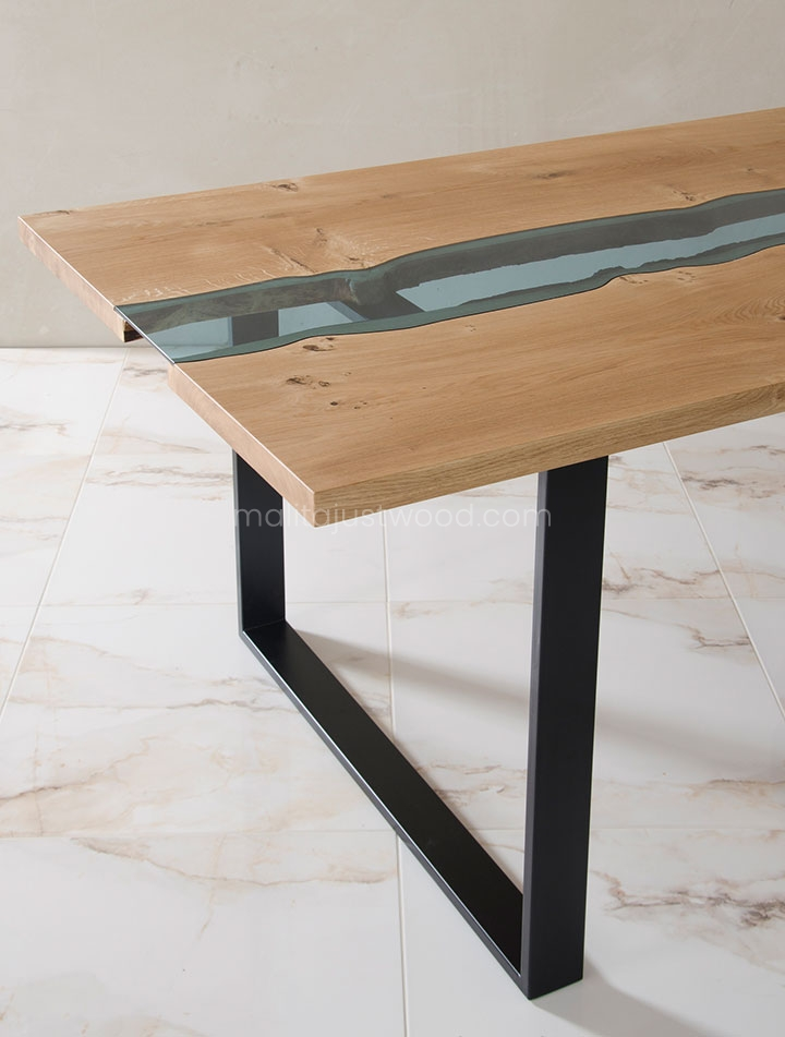 stoły Lente z drewna i szkła hartowanego
