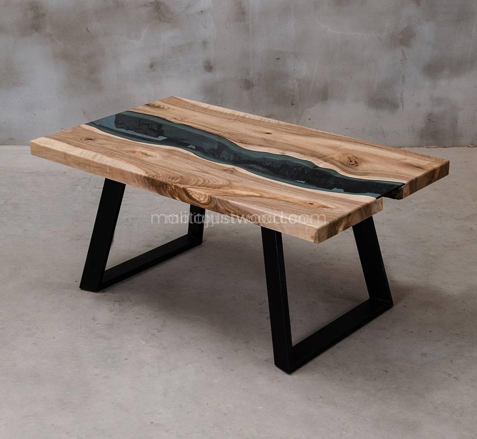 stolik kawowy Locus 100x60 cm drewno z elementami szkła hartowanego