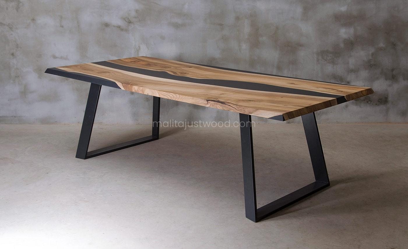 prostokątny stół Ornatus ze zdobieniami z żywicy epoksydowej