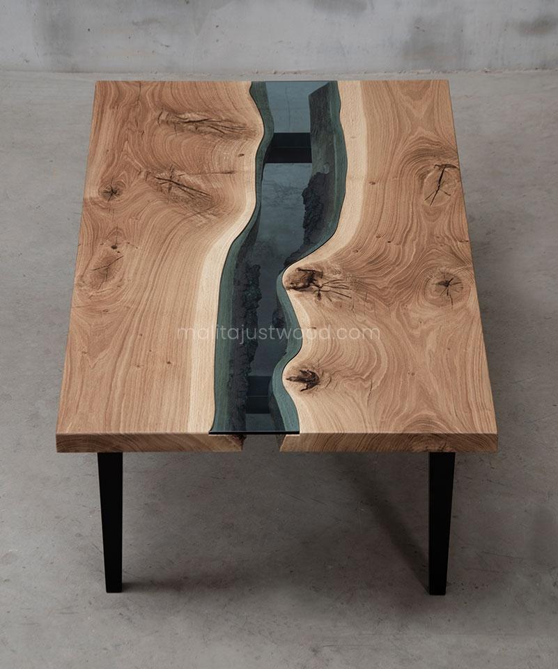 stolik kawowy Salus 120x70 drewno ze szkłem
