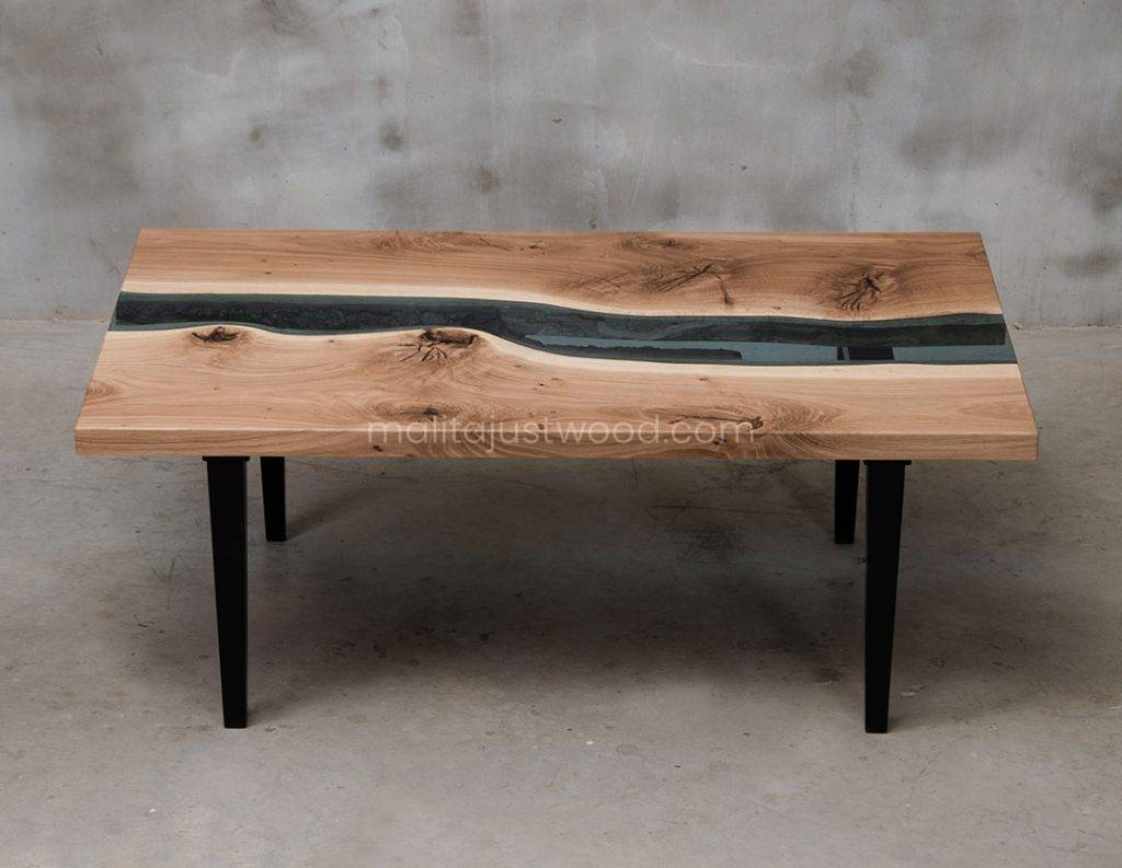 szklany stolik kawowy Salus ze szkła i drewna