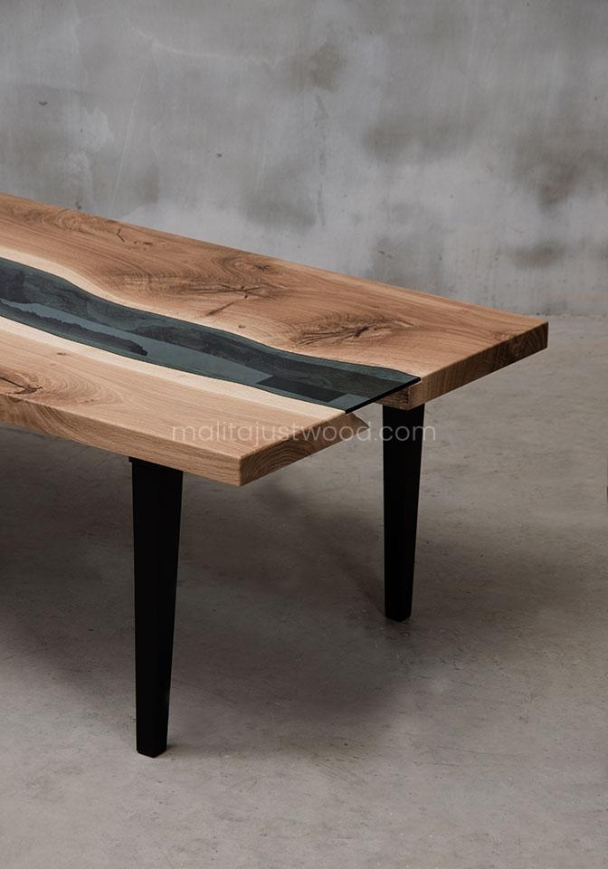 designerski stolik Salus drewniano-szklany