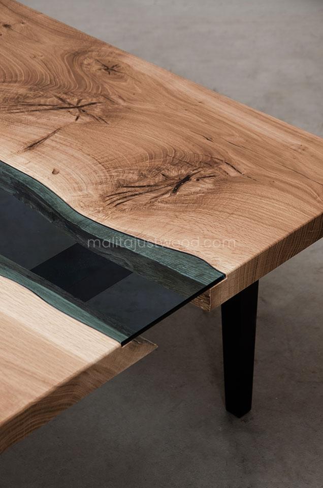 dębowy stolik Salus ze wstawkami ze szkła hartowanego