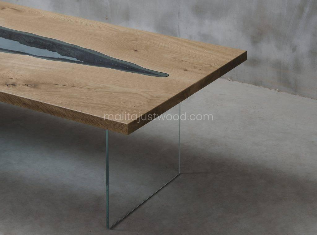 dębowy stolik Vitrum ze wstawkami ze szkła hartowanego