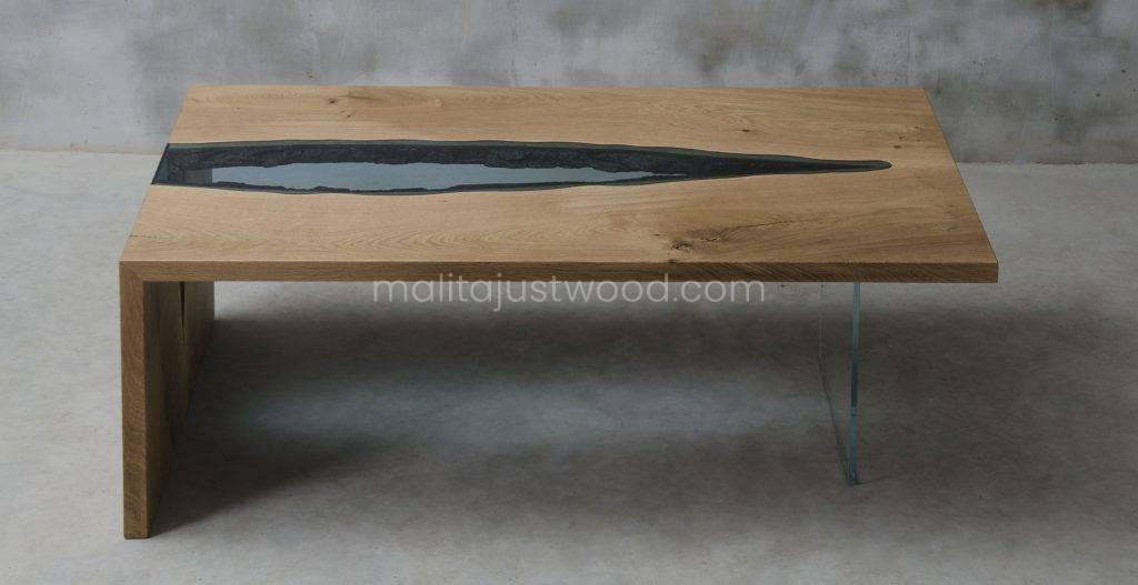 dębowy stolik kawowy Vitrum ze szkłem