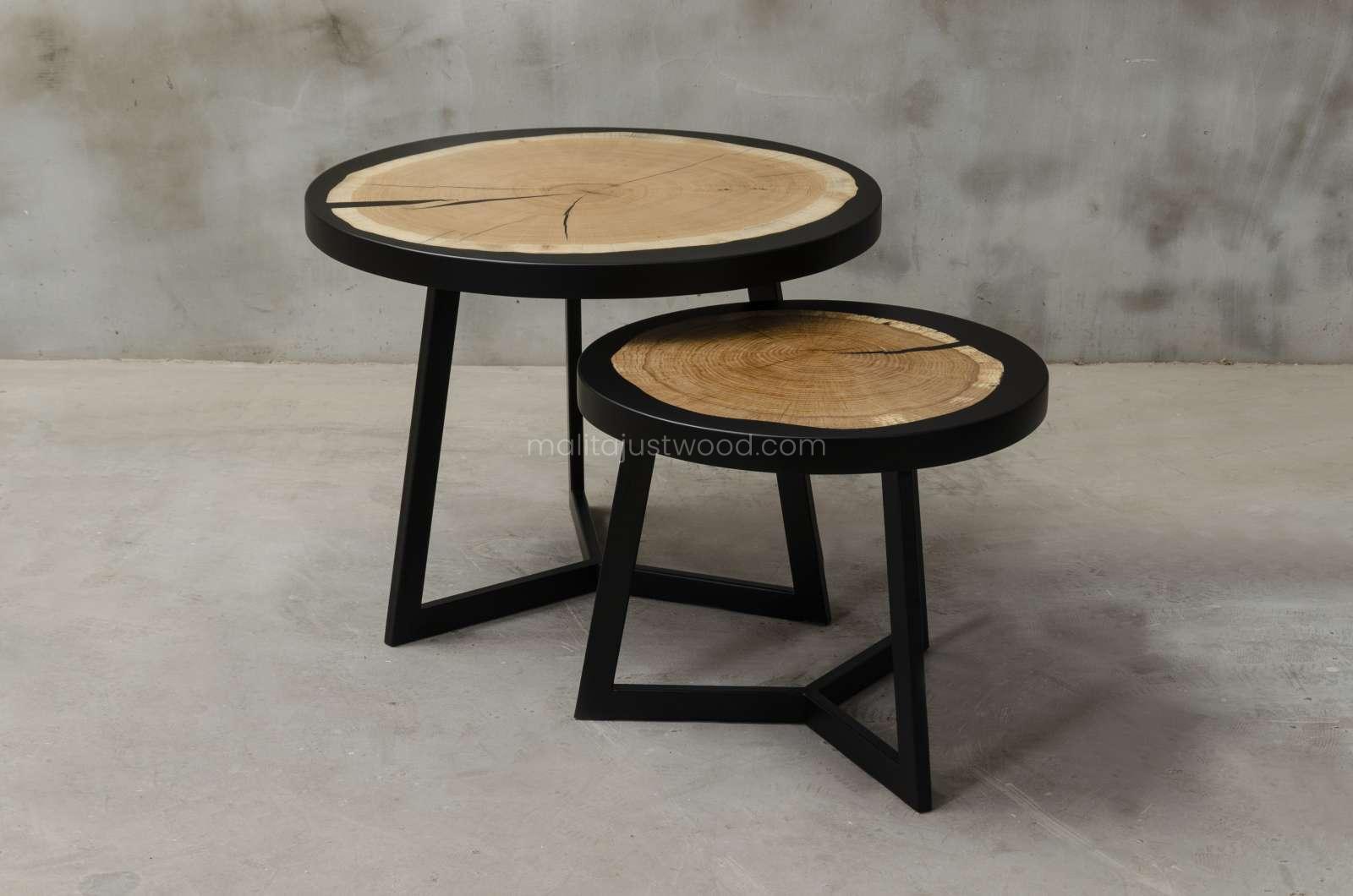 okrągłe stoliki kawowe Duo do salonu