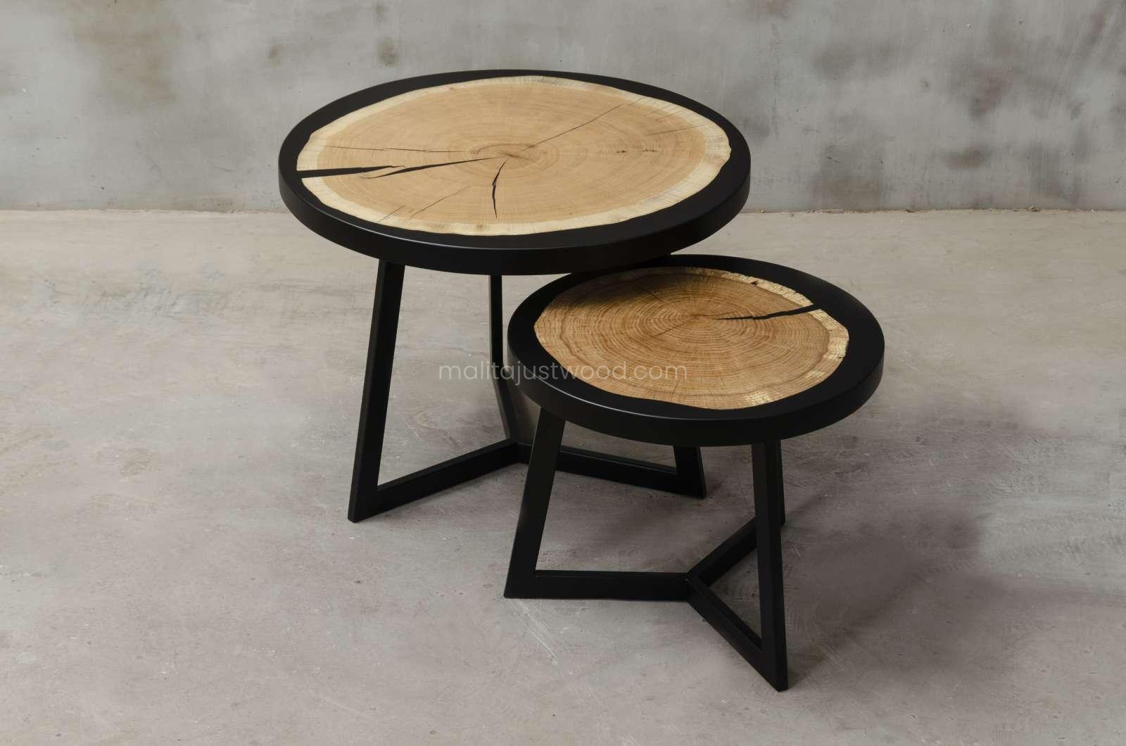 okrągłe stoliki kawowe Duo z plastra dębu