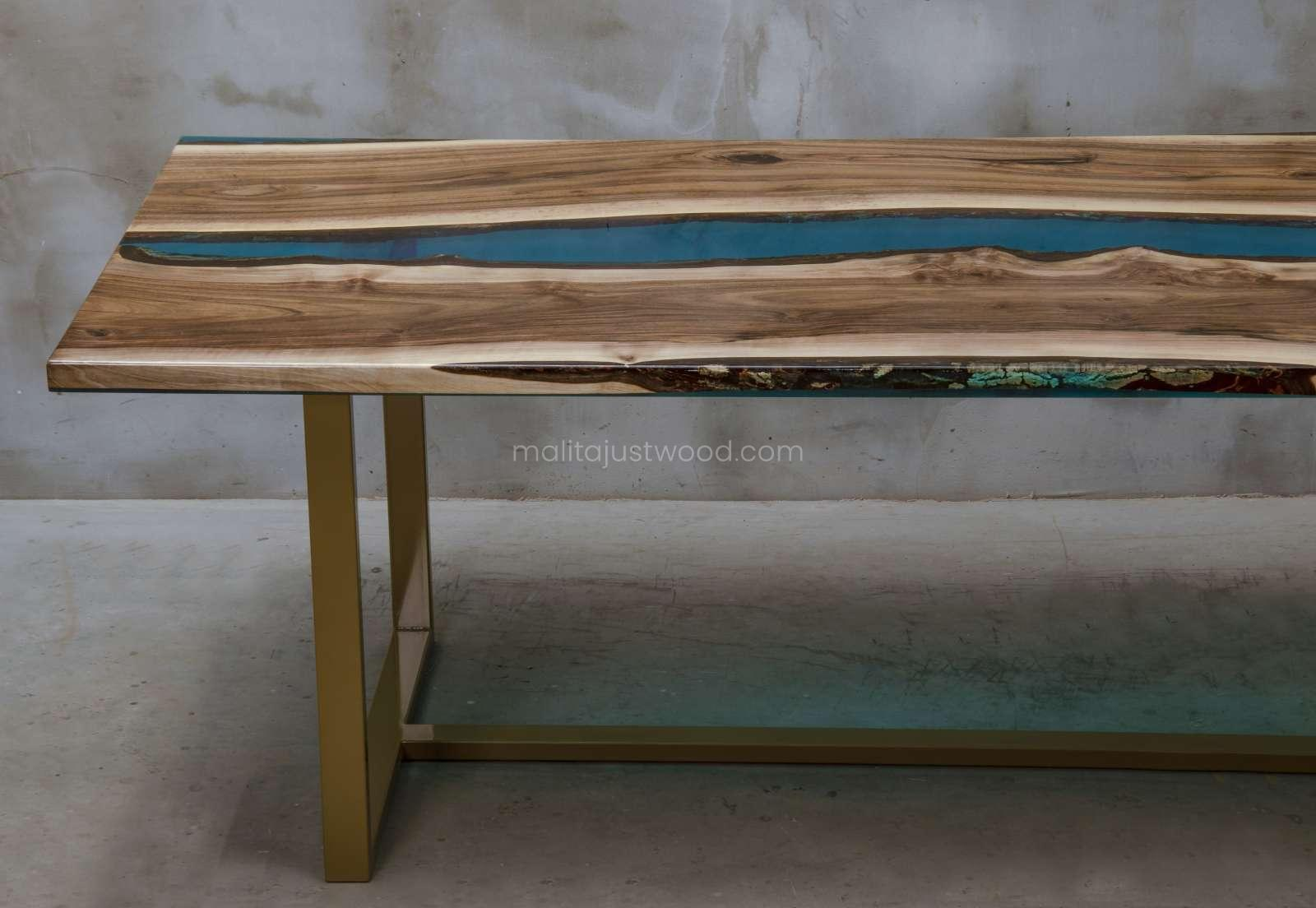 walnut table Helvetica with resin