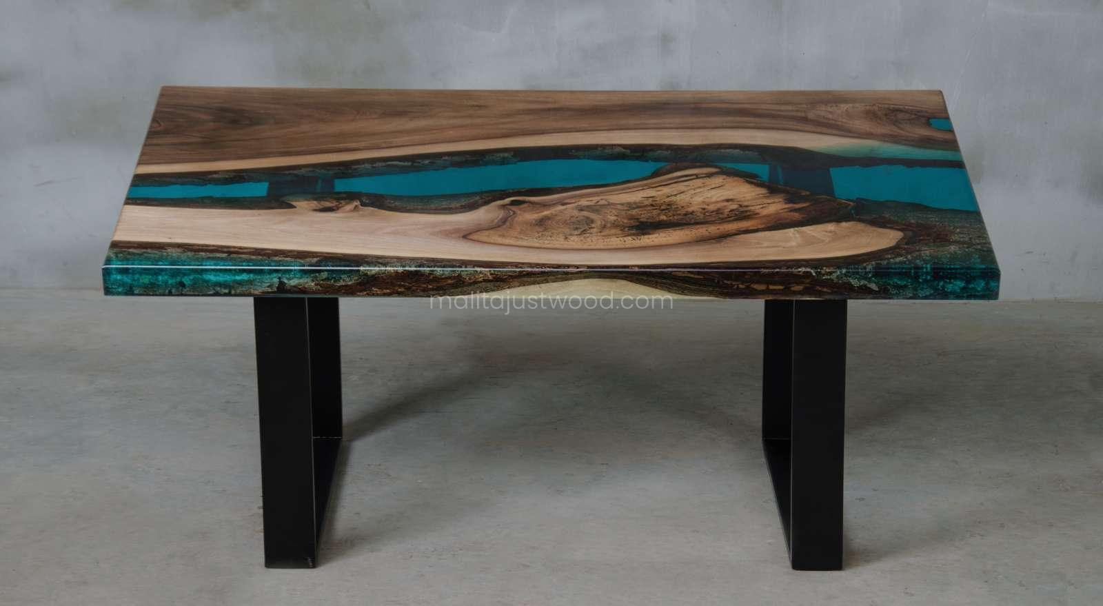 wooden coffee table Mare to modern living room