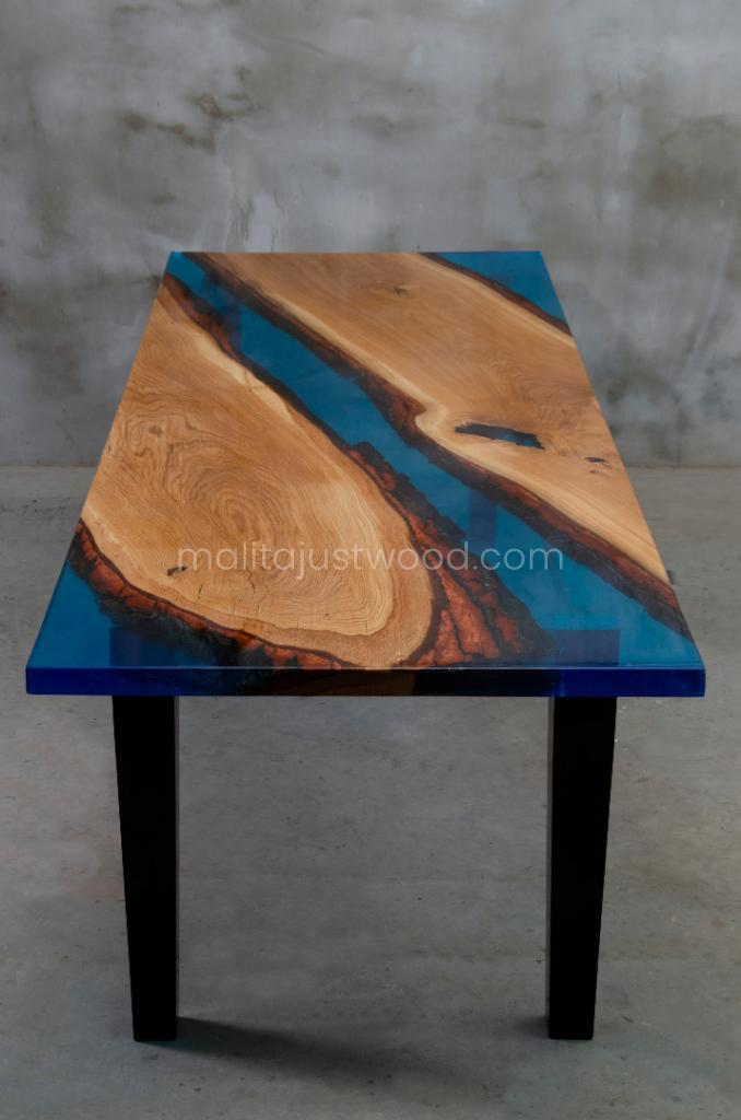 tantum table with blue resin
