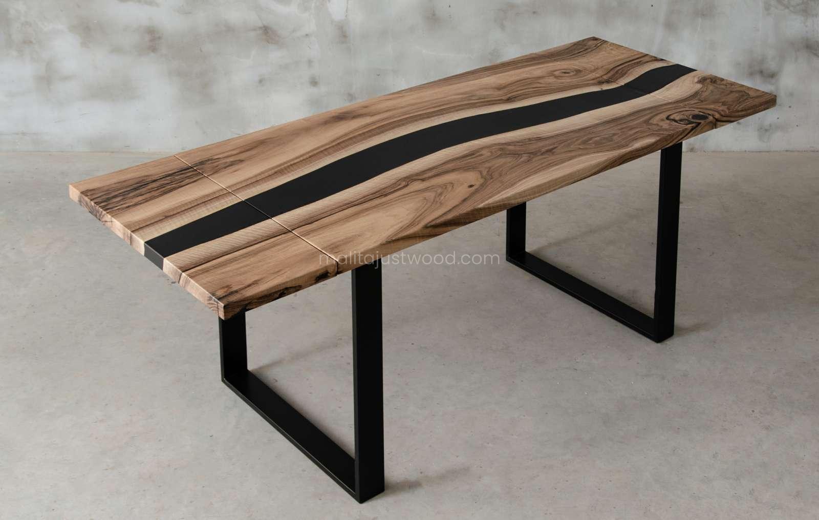 rozkładany stół tenens z drewna i żywicy