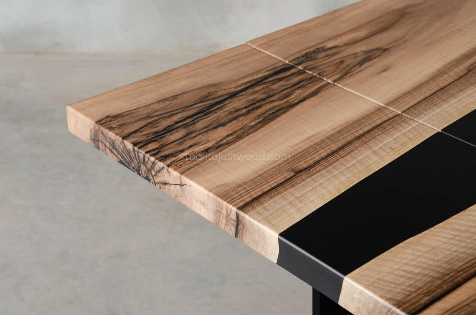European walnut and black resin tenens table