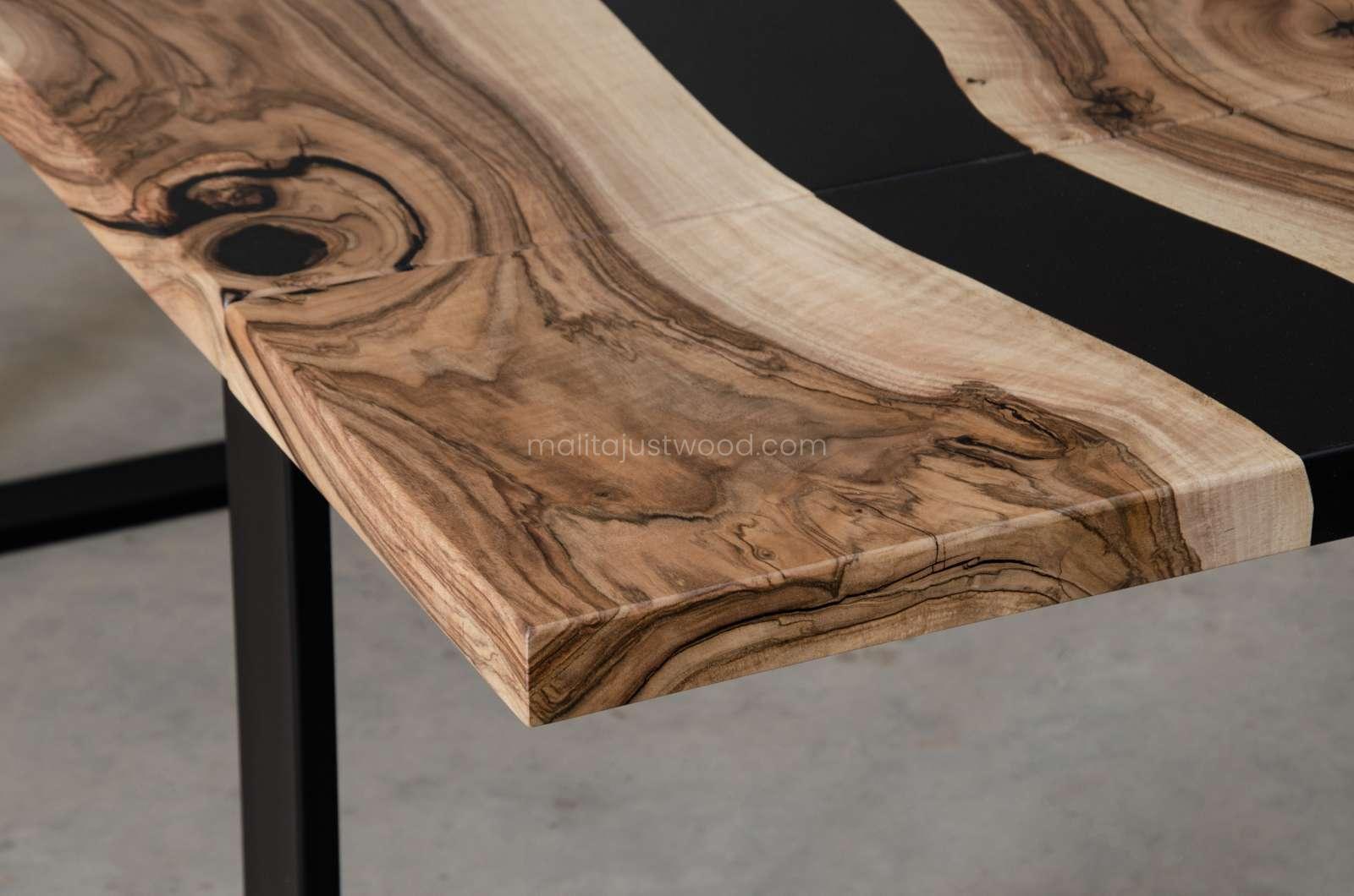 matt tenens tables with black resin for dining room