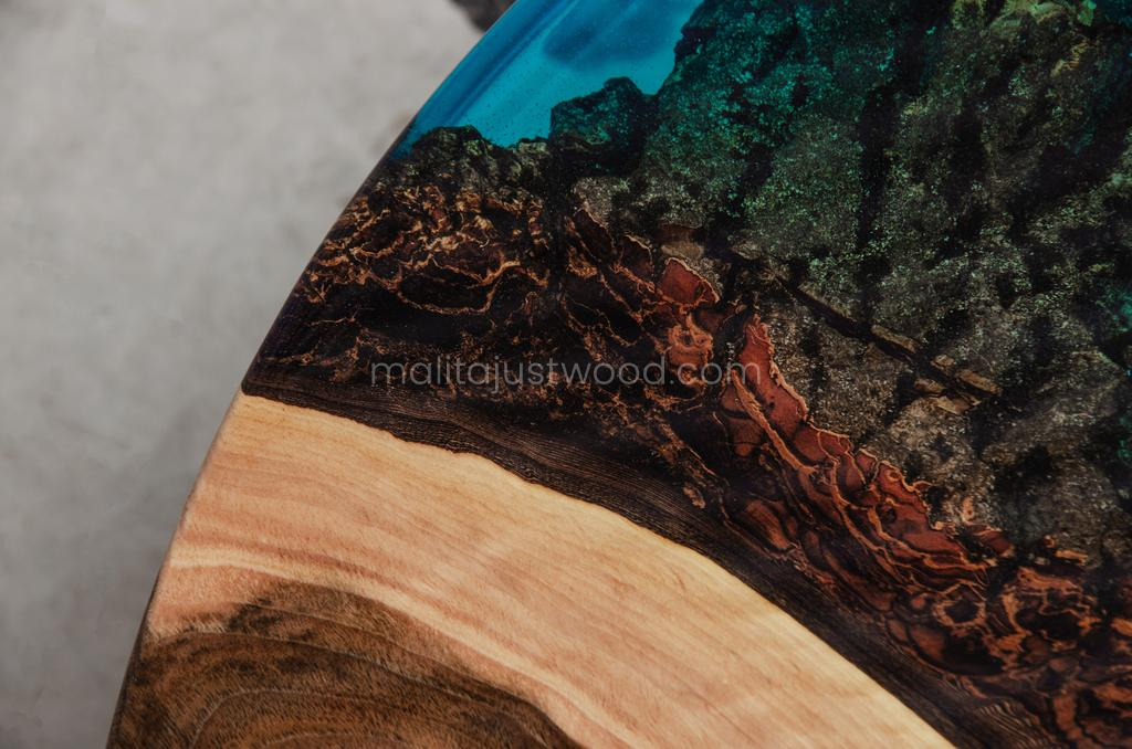 Aqua coffee table of wood with resin