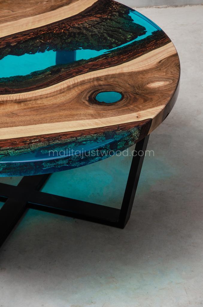 Aqua coffee tables with epoxy resin