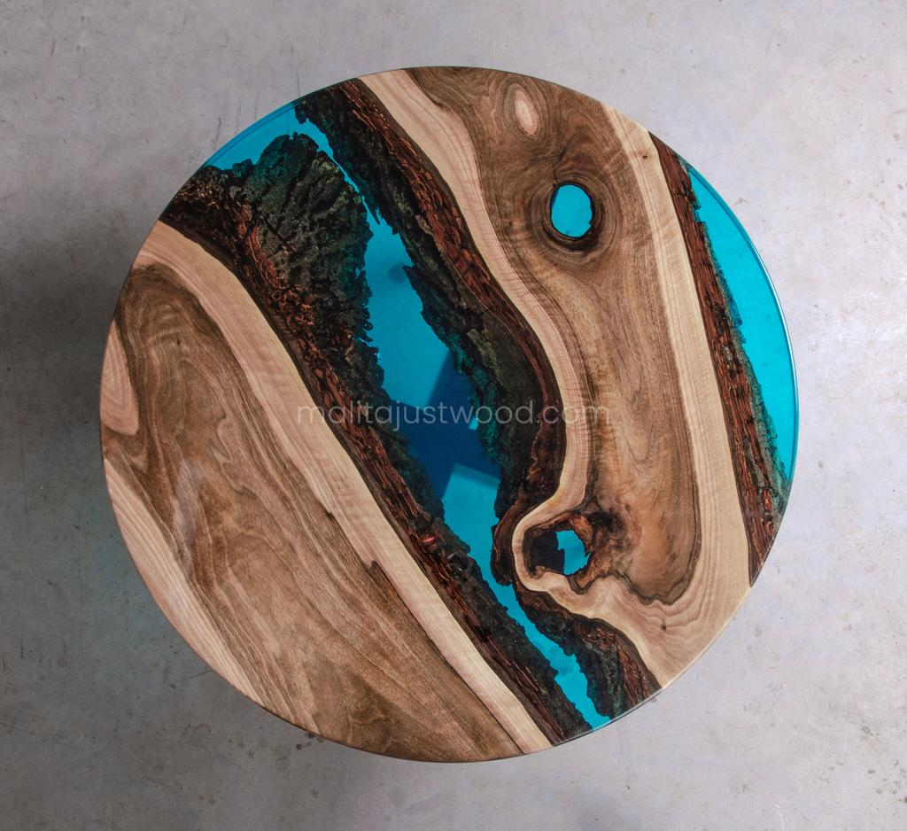 wooden coffee table Aqua