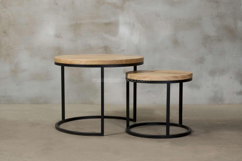 zestaw dwóch stolików kawowych circum z drewna dębowego