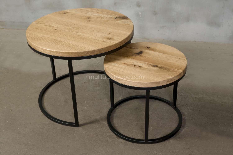 dwa stoliki circum dębowy praktyczne do salonu