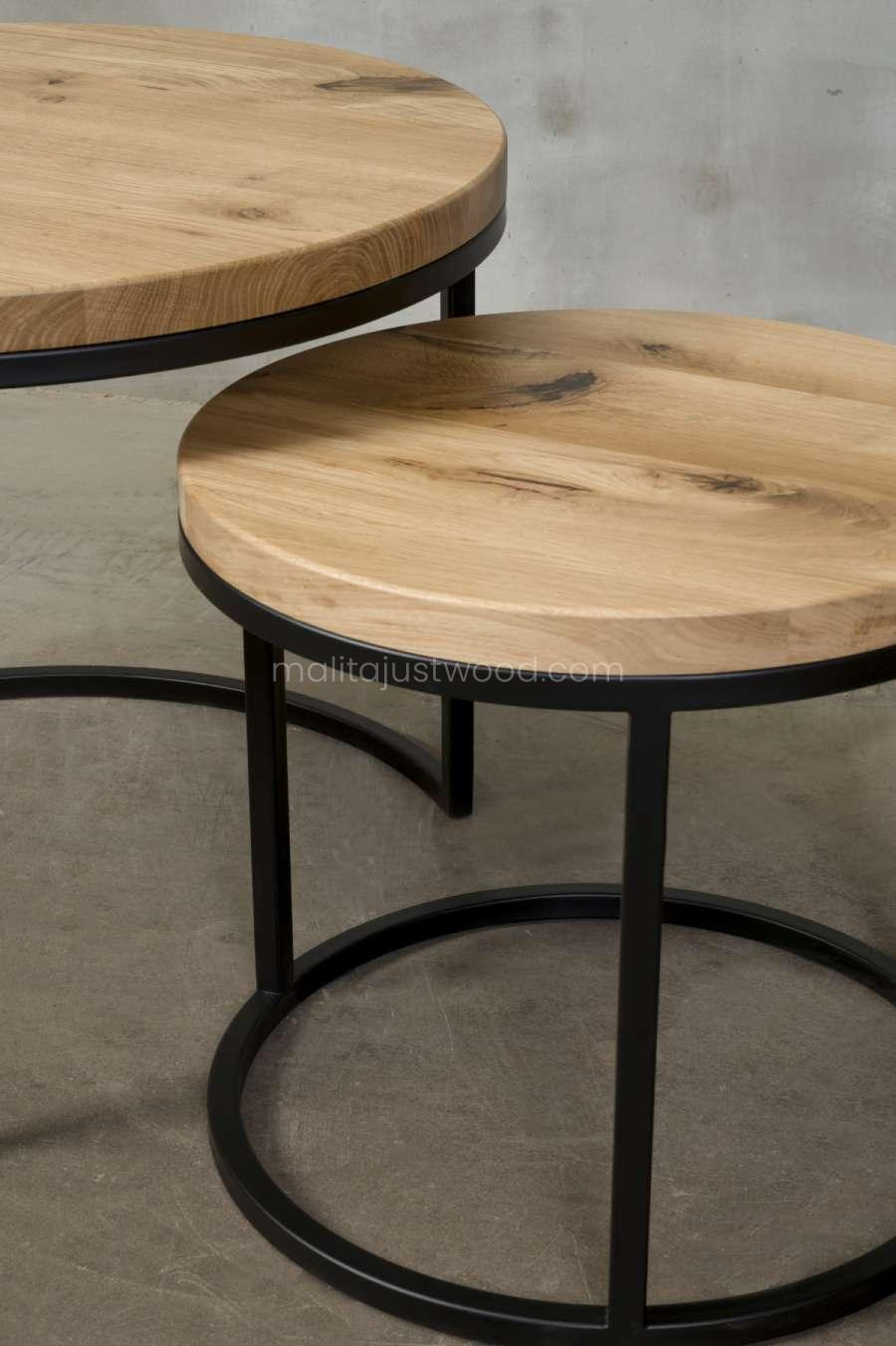 circum round coffee tables with an oak top