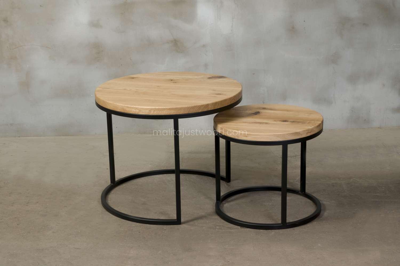 okrągłe stoliki kawowe circum z drewna