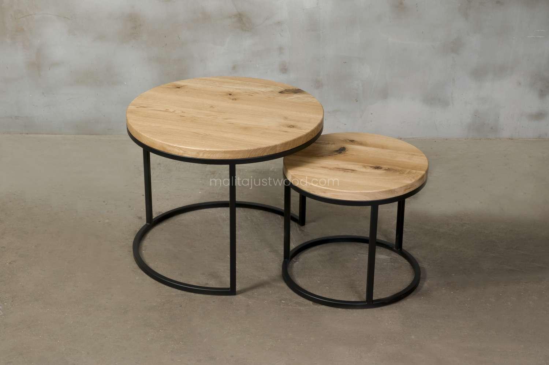 okrągły stolik kawowy circum z dębowym blatem