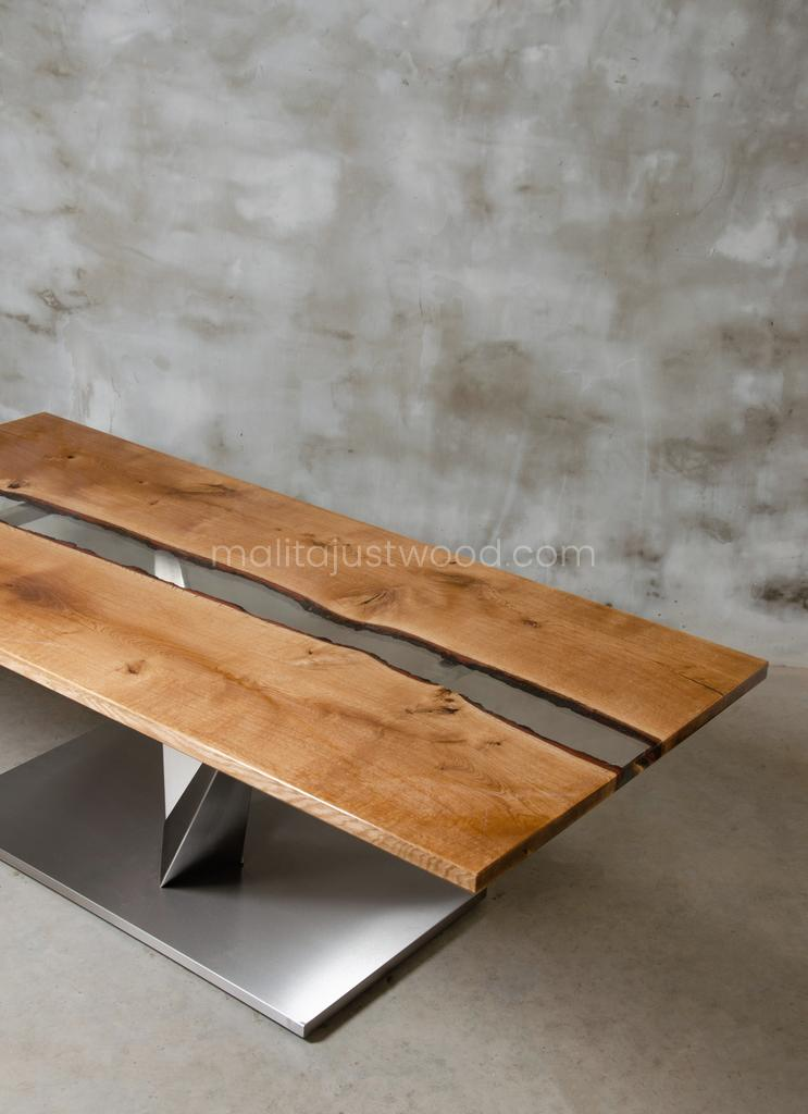 Dives dining table with transparent resin
