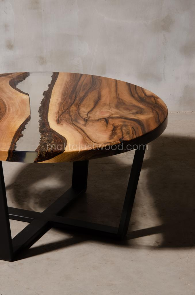 Egregius walnut coffee table in an industrial style