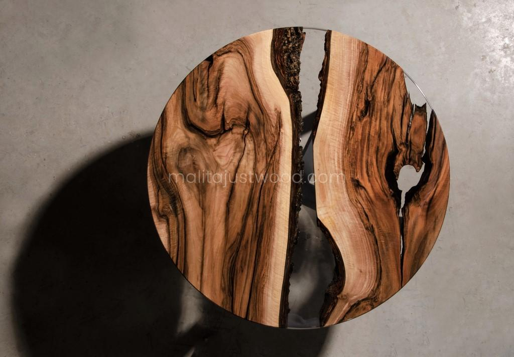 Walnuss Couchtisch Egregius aus Holz und Metall