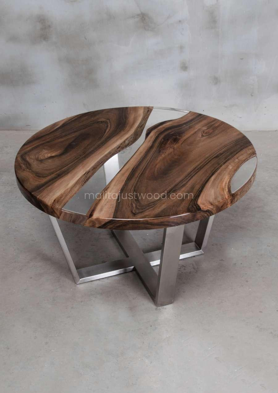 walnut coffee table Ferro with crystal resin