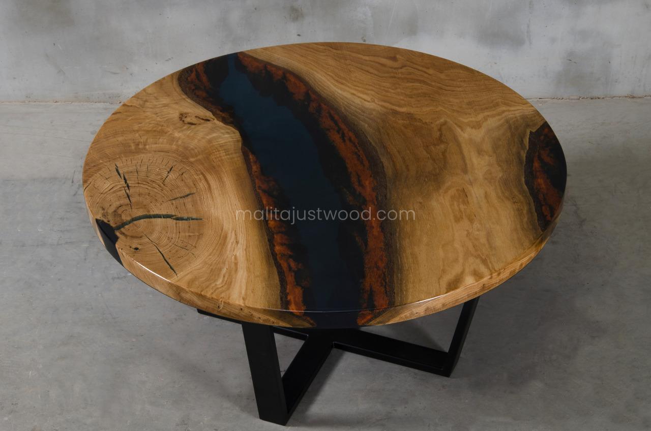 elegant Moon live edge coffee table with epoxy resin