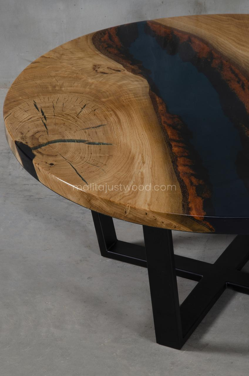 Moon round console table with resin