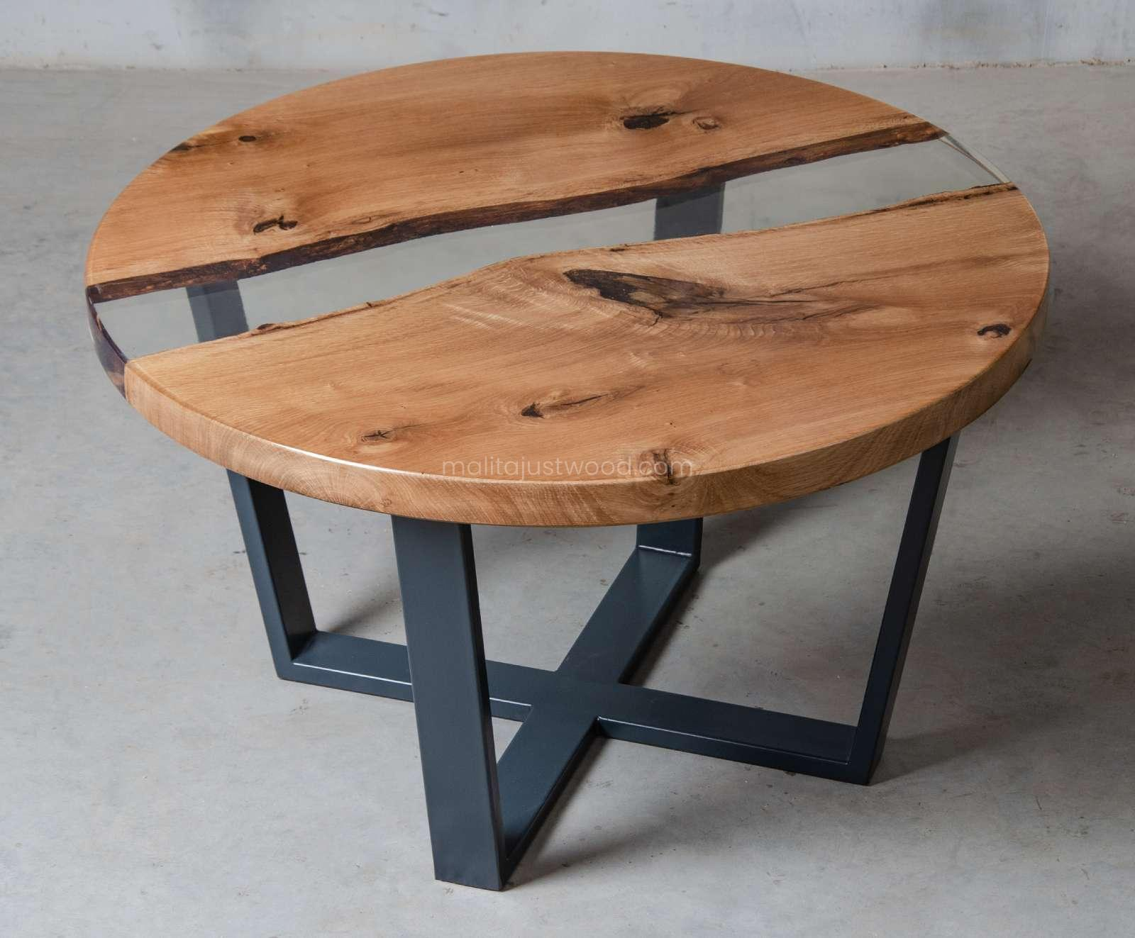 wooden coffee table Puella with resin and steel legs