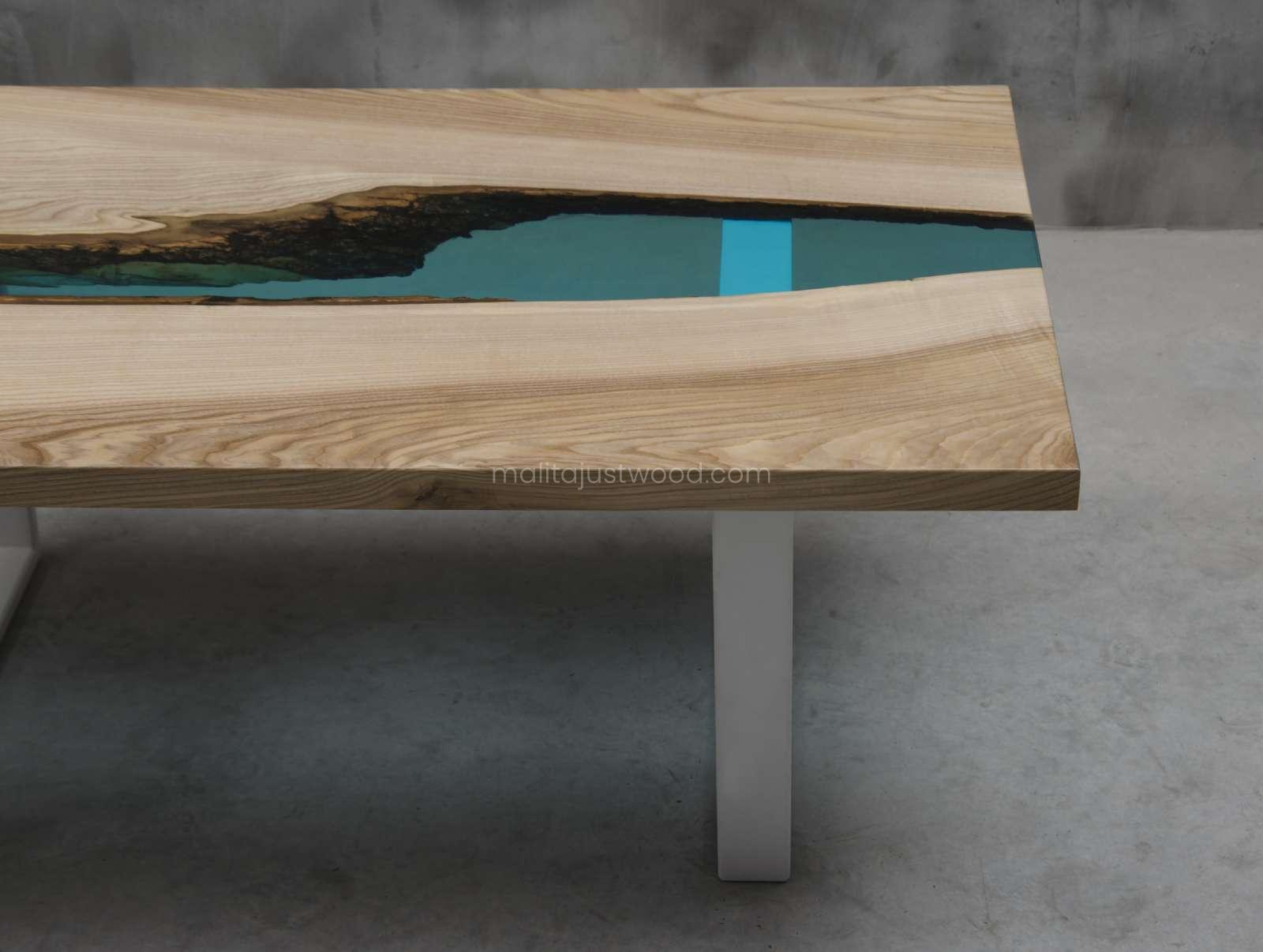 epoxy river coffee table cinis with blue resin