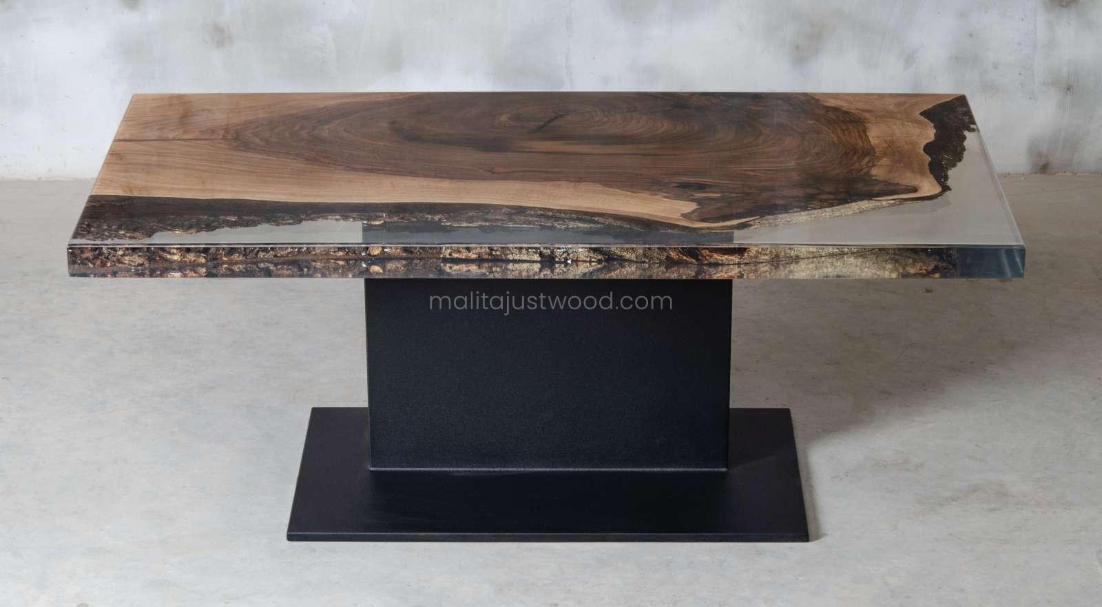 Sublimis resin table of walnut wood and black steel